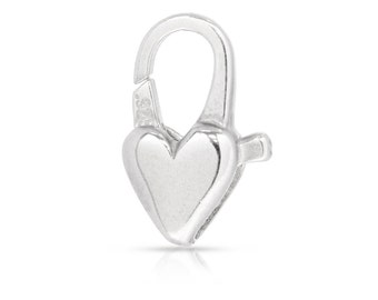 Sterling Silver 6x13mm Heart Clasp - 1pc High Quality Beads (6318)/1