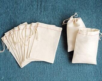 "Muslin Bags - 4"" x 6"" Plain Muslin Bags - Set of 10 - Cotton Muslin Bags - Plain Cotton Bags - Plain Muslin Bags - Blank Muslin Bags"