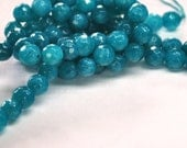 Half Strand 4mm Faceted Dark Blue Topaz Turquoise Color Dyed Agate Gemstone Round Beads - 45 beads