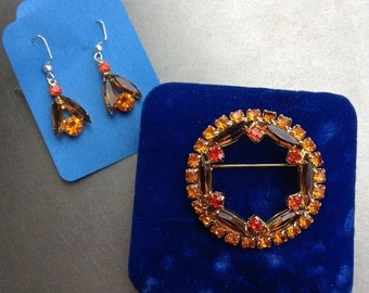Broach and Earring Set, Chocolate and Oranges faux gems,  Upcycled