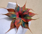 Beautiful Felted flower, brooch , flower, brooch, felt, nuno felt, silk, wool, gift, orange, green,