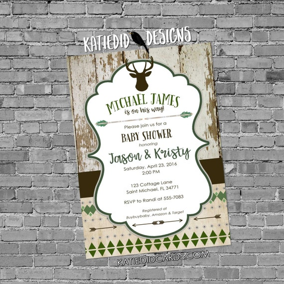 tribal baby shower invitation BOHO chic camo military coed wedding arrows feathers wood baby boy deer pre-baby 1238 shabby chic invitations