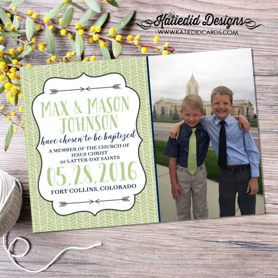 LDS baptism invitation christening mormon christening herringbone twins double baby blessing 8 great printable photo announcement item 714