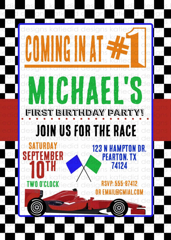 Race car birthday invitation Formula One Car baby boy shower ...