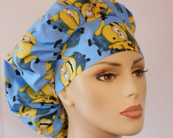 Minions Surgical Womens Bouffant Scrub Hat- Minions Indispicable Me Blue Background  #2