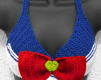 Sailor Moon - Inspired Sailor Scout Crochet Wrap Adjustable Top - Machine Washable