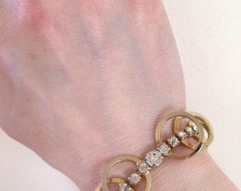 50's Vintage Gold Rhinestone Celestial Fire Bracelet