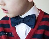Navy Blue Dupioni Silk Bow Tie  - Clip on, self tying or pre-tied adjustable strap - for men or boys - ring bearer outfit