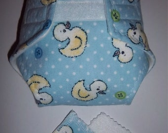 Baby Doll Diaper/wipes - duckies, buttons, white polka dots on blue - See Shop Special - adjustable for many dolls such as bitty baby