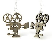 Movie Camera - Laser Cut Woods Earrings from Reforested Wood