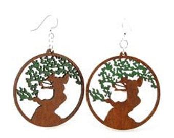 Bonsai Tree Earrings - Laser Cut wooden Earrings