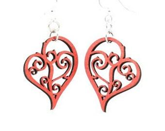 Hearts in Vines Earrings -  Laser Cut Earrings from Reforested Wood