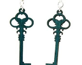 Skeleton Key - Wood Earrings