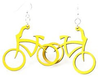 Bicycles Earrings - laser cut from Reforested Wood