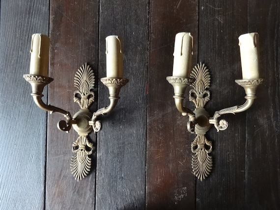 Vintage Brass Electric Wall Sconces : Vintage French electric lamp wall sconces faux candle brass