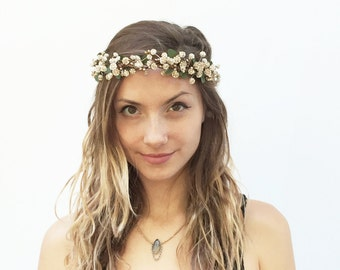 Gold Baby's Breath Flower Crown, Gold Crown, Gold Flower Crown, Prom Hair, Boho, Gold Hair Crown, Gold, Floral Crown, Bridal Headpiece