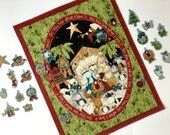 Advent Calendar - Quilted Religious Nativity - Wall Hanging Manger - Whimsical Baby Jesus - Childrens Activity Panel - Sally Manke