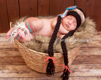 Indian princess costume, Crochet baby indian princess hat with legwarmers, photo prop newborn prop baby shower gift
