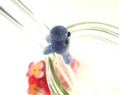 Manatee Hand Sculpted on a Clear Glass Drinking Straw- 9 inches long, 9.5mm wide, Bent Standard, OOAK Ocean Animal