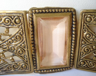 Art Deco Buckle Czech Pink Glass  and Filigree 1920's 1930's