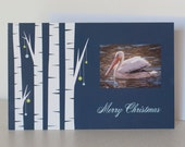 5 White Pelican Christmas Cards with 5 White Envelopes