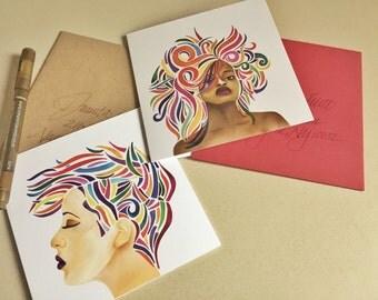 Stationery/Blank Illustration Greeting Card Set of 4