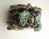 Boho Crochet Cuff Bracelet, 100% Cotton, Seed Beads, Fashion Statement, Made in the USA, Item No. De084