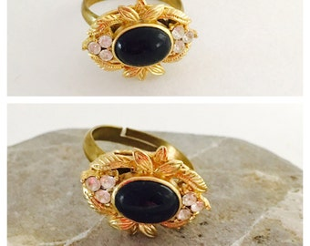 Art Deco Ring, Vintage Bead, Adjustable Filigree brass/gold tone, Made IN the USA, Item No. De049