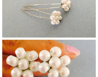 Long Flower Hair Pins, Set of two, Faux Pearl Flowers, Wedding Accessory, Hand Made in the USA,  Item No. De161