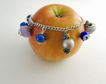 Layering Bracelet, turkish Inspired, blue beads, silver tone, Hand Made in The USA, Item No. De164
