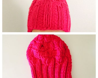 Waffle Stitch Hat/Beanie, Fuschia Hot Pink, Knit Woman Accessory, Hand Made in the U S A, tem no. BDE002