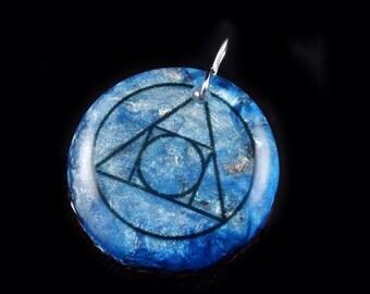 Orgonite Pendant Hermetic Seal of Light with Arkansas Crystals, Fluorite, Phenacite, Petalite, Rhodizite,  Elite Shungite, Tourmaline (k34)