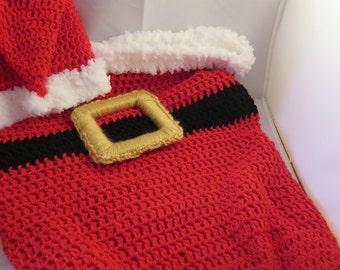 Newborn Crochet Santa Cocoon and Hat