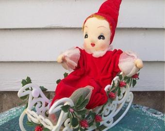 1950's Christmas Doll With Sleigh Christmas Mantle Decor