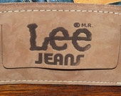 Vintage M.R. Lee Jeans Luggage Tag, Brown Suede ID Card for your luggage