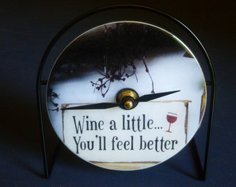 Wine A Little Recycled CD Clock Art