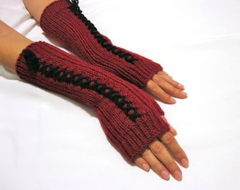 BLACK FRIDAY SALE Knit Fingerless gloves | Knitted Fingerless Mittens | Arm Warmers | Boho Glove | Red and Black Fingerless gloves
