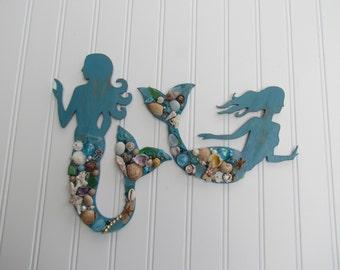 Set of Wood Mermaids with Seashells, Sea Glass, Beads and Jewels