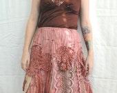 Dusty Rust Gyspy Tattered Fetival Boho Skirt Sz XS - M