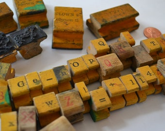 Assorted Wood Handled Vintage Letters Numbers Rubber Stamps Lot