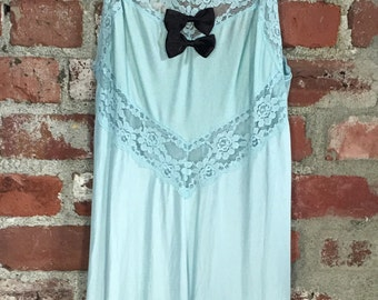 Vintage 60s 70s Lingerie Satin Powder Blue with Black Bows Night Gown Size Small Medium