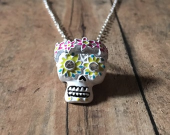 Gorgeous sugar skull necklace
