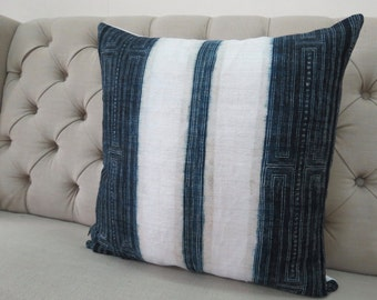 "22""By22, Vintage Hemp, Indigo batik Hmong Handwoven Hemp Fabric,Scatter cushions and Pillows,"
