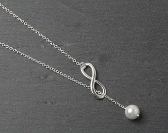 Infinity necklace, eternity necklace, infinity jewelry, pearl necklace, bridesmaid necklace, wedding jewelry, Mother of the bride gift