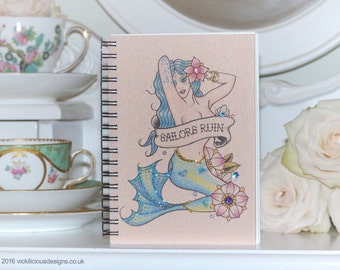 SAILORS RUIN Mermaid tattoo handmade A6 notebook
