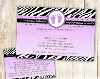 Zebra Invitation - Baby Girl Shower Invitation - Purple Black Zebra Baby Shower - Printable Baby Sprinkle Invitation & Bring a Book Card