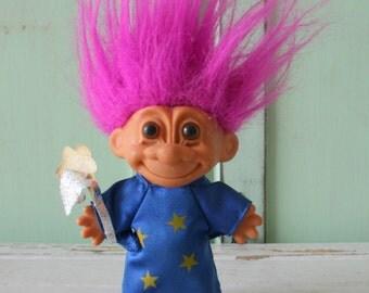 Vintage TROLL Doll...doll. collectible. wizard. 1980s. 1990s. kitsch. retro. vintage toys. crazy. hippie troll. happy birthday. princess.