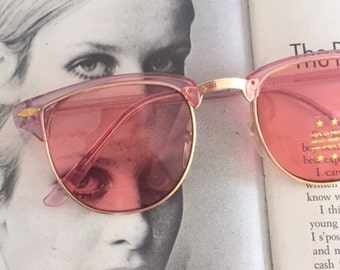 Vintage PINK CLUBMASTER Sunglasses.retro. colorful shades. urban. hipster. gold. shades. indie. chic. pink. sunglasses. boho. deadstock.