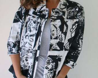 Vintage KOOKY Funky Print Jacket...size large xl womens...cotton. fabric. gogo. mod. twiggy. retro. womens. kooky. black and white. face