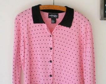 1980s POLKA DOT Pink and Black Sweater...size medium to large womens....colorful. bright. retro. 1980s sweater. rad. fun. 90s clothing.
